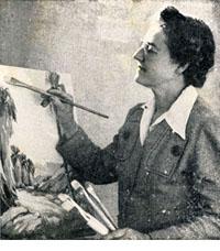 Evylena Nunn Miller in her studio